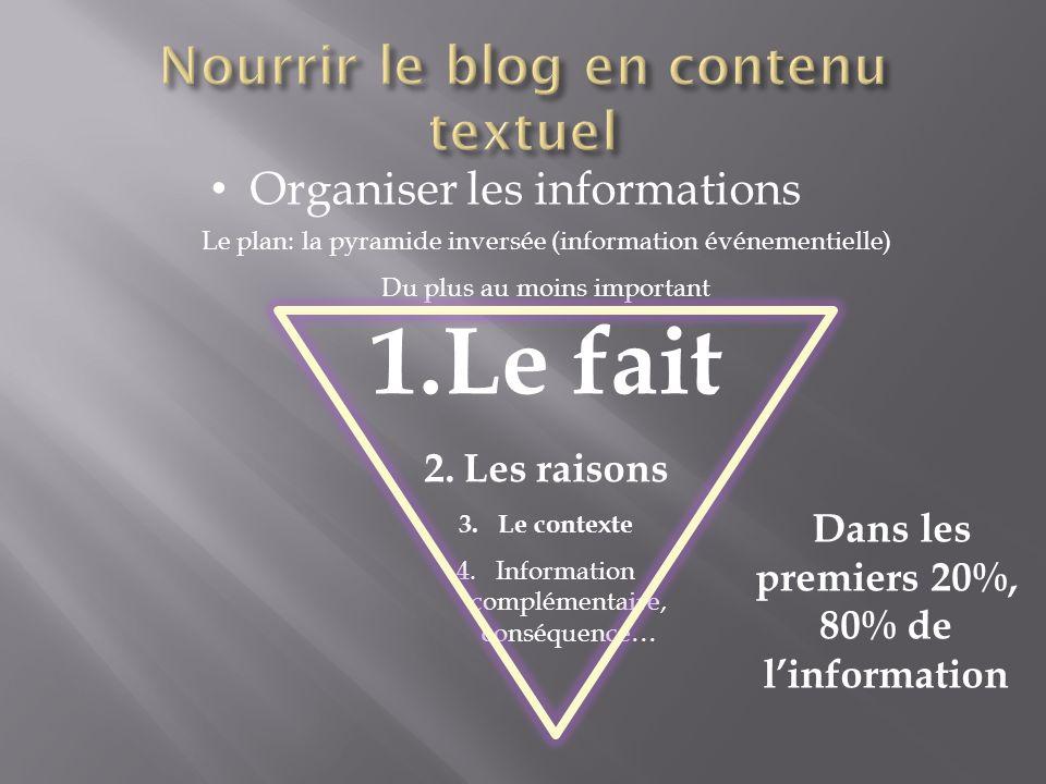 Organiser les informations Le plan: la pyramide inversée (information événementielle) Du plus au moins important 1.Le fait 2.Les raisons 3.Le contexte