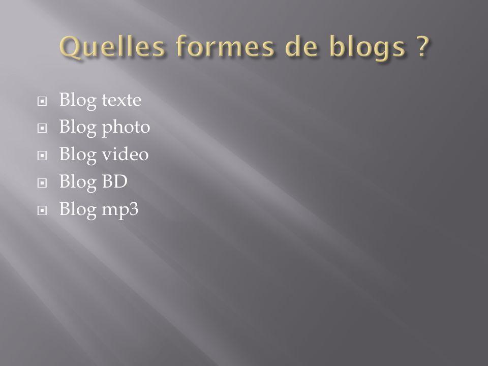 Blog texte Blog photo Blog video Blog BD Blog mp3