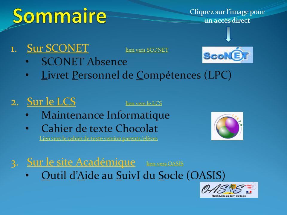 1.Sur SCONET lien vers SCONETlien vers SCONET SCONET Absence Livret Personnel de Compétences (LPC) 2.Sur le LCS lien vers le LCS lien vers le LCS Main