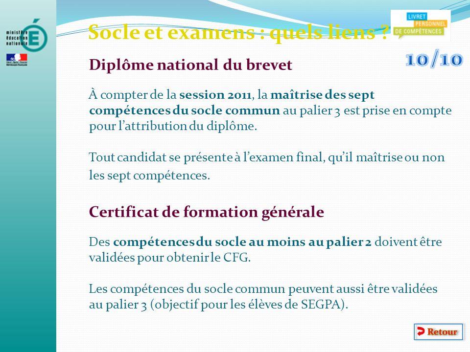 Socle et examens : quels liens ? Diplôme national du brevet À compter de la session 2011, la maîtrise des sept compétences du socle commun au palier 3