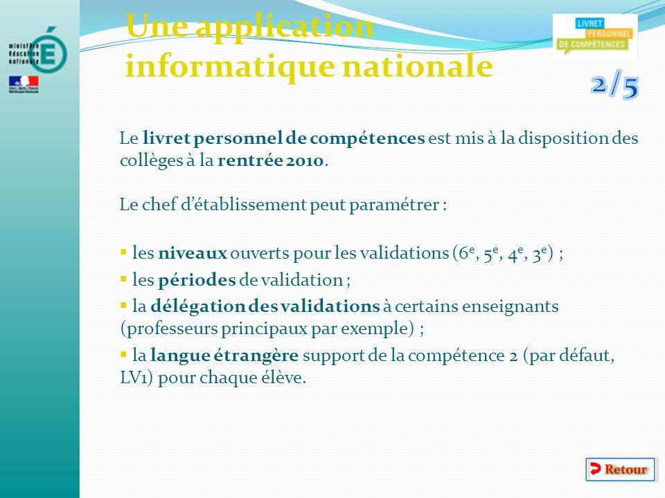Une application informatique nationale Le livret personnel de compétences est mis à la disposition des collèges à la rentrée 2010. Le chef détablissem