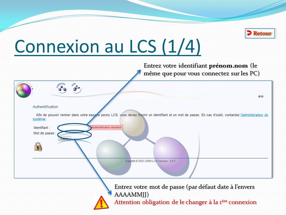 Connexion au LCS (1/4) Entrez votre identifiant prénom.nom (le même que pour vous connectez sur les PC) Entrez votre mot de passe (par défaut date à l