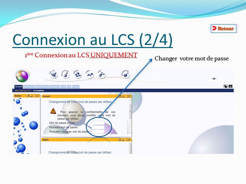 Connexion au LCS (2/4) 1 ère Connexion au LCS UNIQUEMENT Changer votre mot de passe