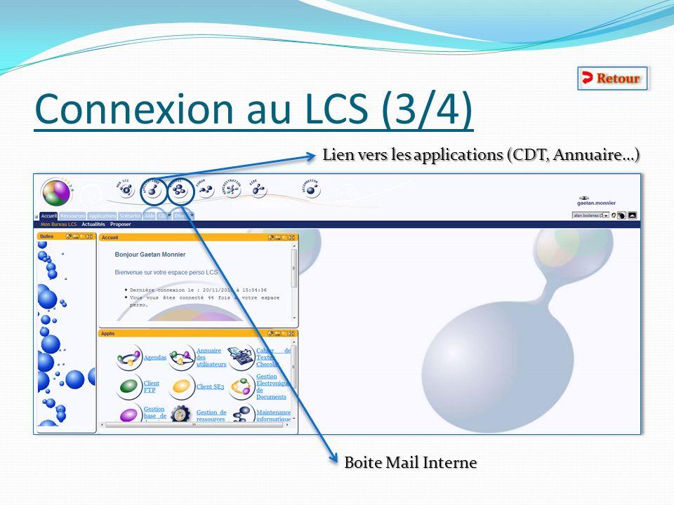 Connexion au LCS (3/4) Lien vers les applications (CDT, Annuaire…) Boite Mail Interne
