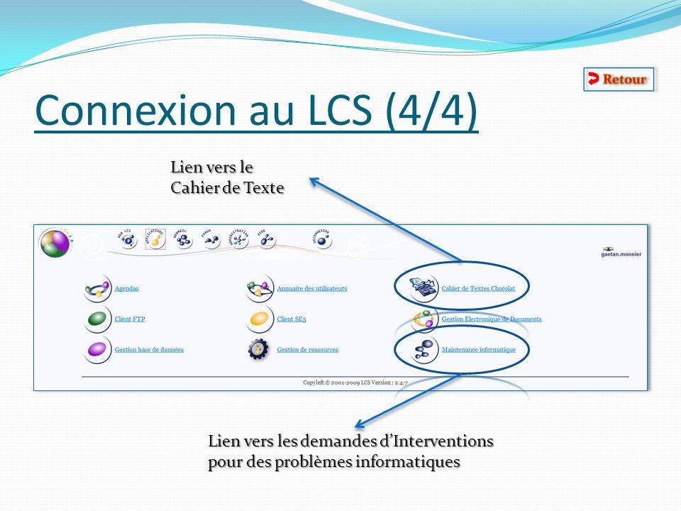 Connexion au LCS (4/4) Lien vers le Cahier de Texte Lien vers les demandes dInterventions pour des problèmes informatiques