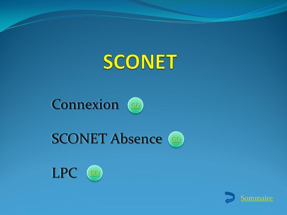 Connexion SCONET Absence LPCConnexion LPC