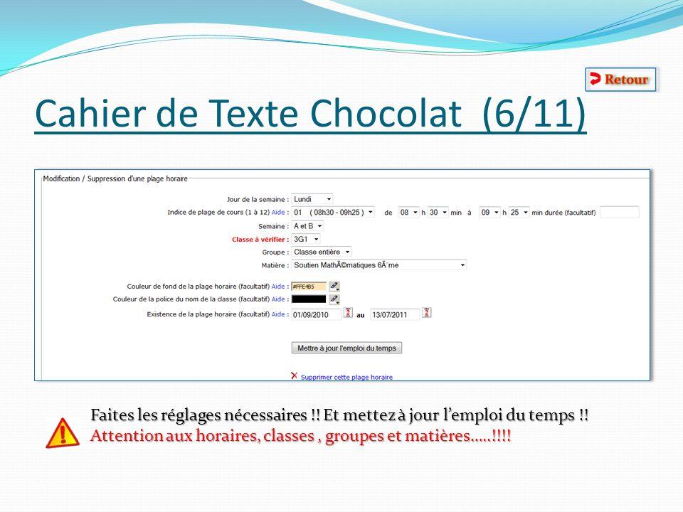 Cahier de Texte Chocolat (6/11) Faites les réglages nécessaires !! Et mettez à jour lemploi du temps !! Attention aux horaires, classes, groupes et ma