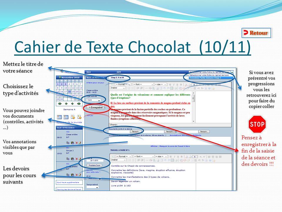 Cahier de Texte Chocolat (10/11) Mettez le titre de votre séance Choisissez le type dactivités Vous pouvez joindre vos documents (contrôles, activités
