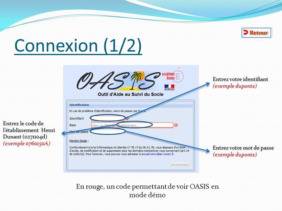 Connexion (1/2) Entrez votre identifiant (exemple duponts) Entrez le code de létablissement Henri Dunant (0271104d) (exemple 0760150A) Entrez votre mo