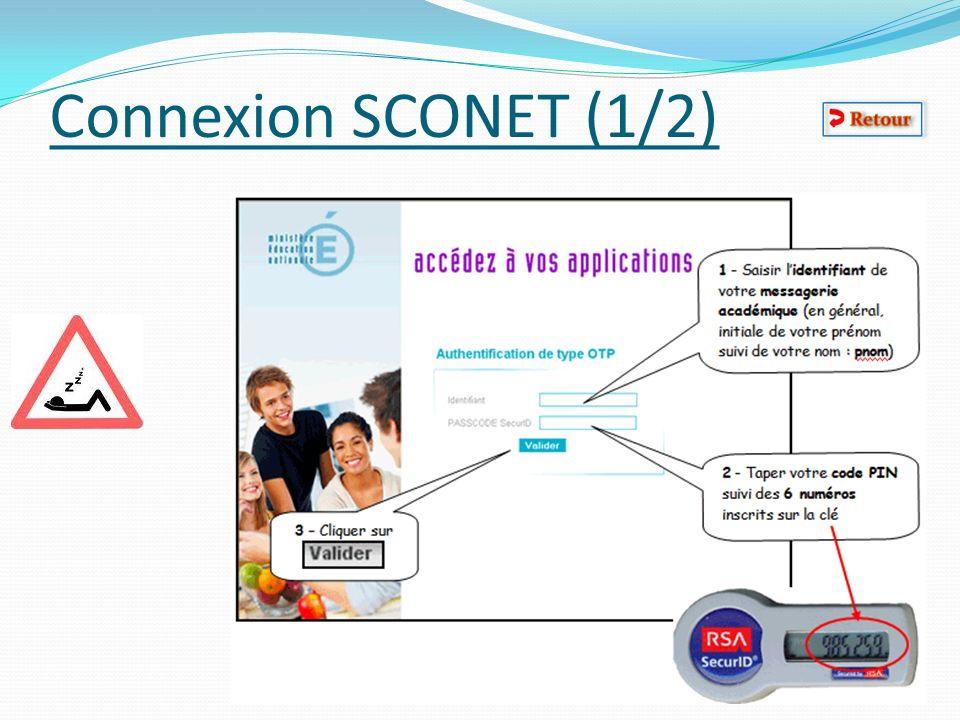 Connexion SCONET (1/2)