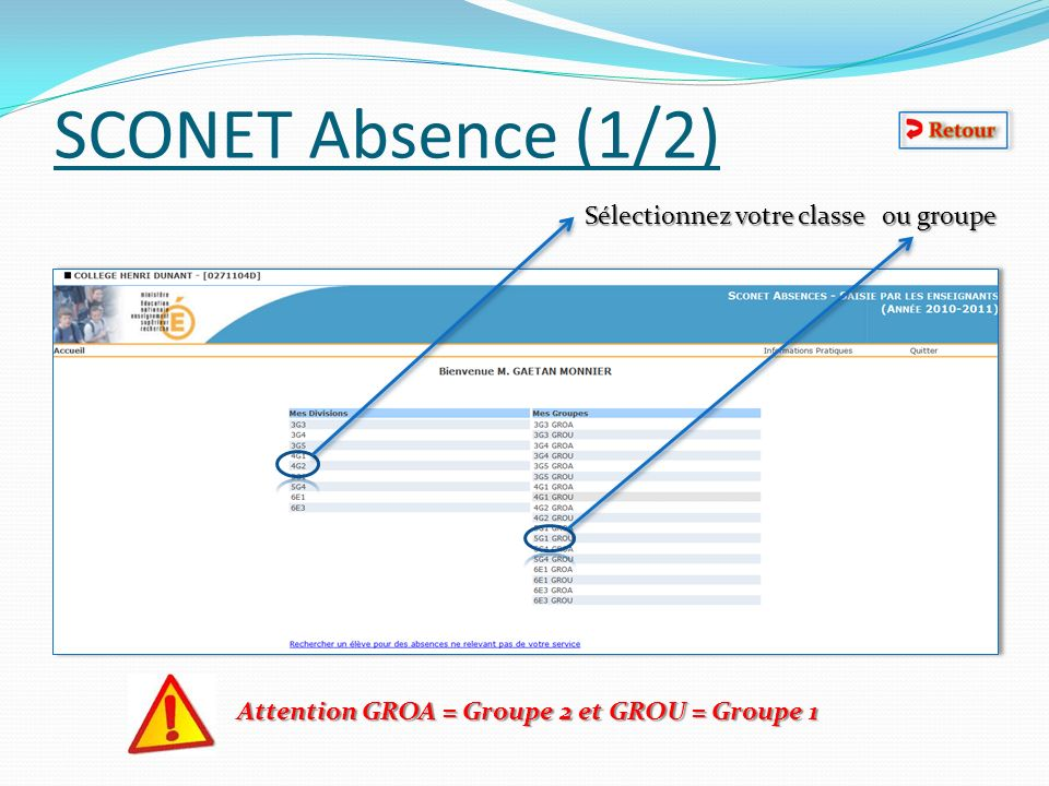 SCONET Absence (2/2) Cliquez sur la case de lélève absent (2 cases par heures) Vous pouvez mettre les retards En fin dappel Valider Et voila lappel est fait!!!.