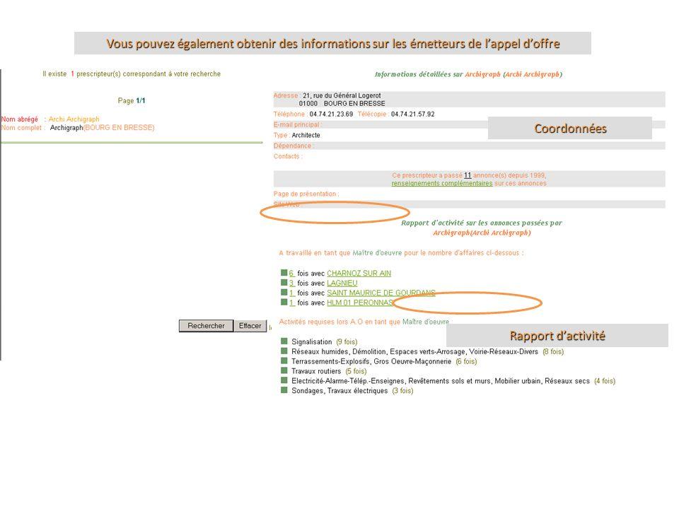 Vous pouvez également obtenir des informations sur les émetteurs de lappel doffre Coordonnées Rapport dactivité