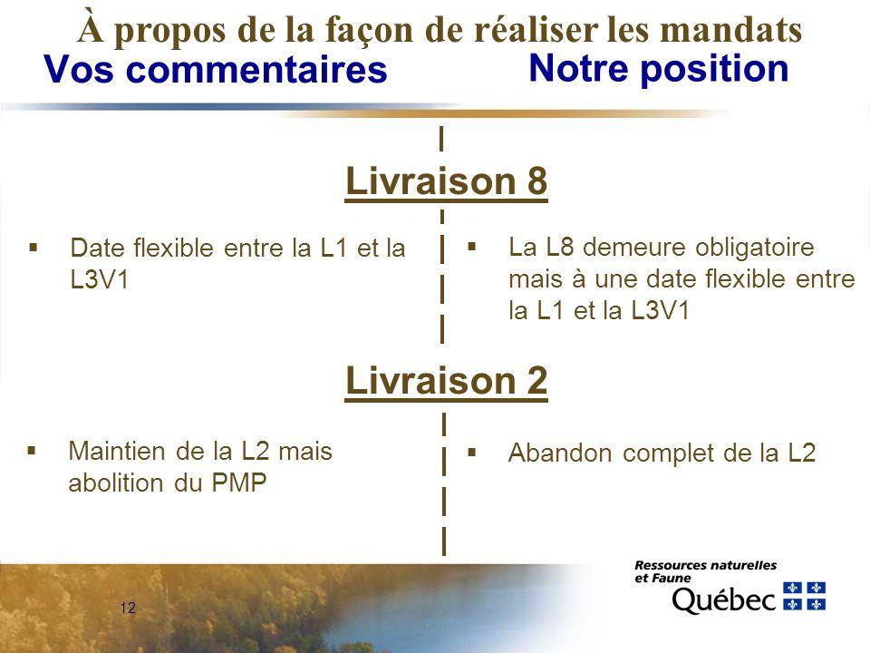 12 Vos commentaires Notre position À propos de la façon de réaliser les mandats Livraison 8 Date flexible entre la L1 et la L3V1 Livraison 2 La L8 demeure obligatoire mais à une date flexible entre la L1 et la L3V1 Maintien de la L2 mais abolition du PMP Abandon complet de la L2
