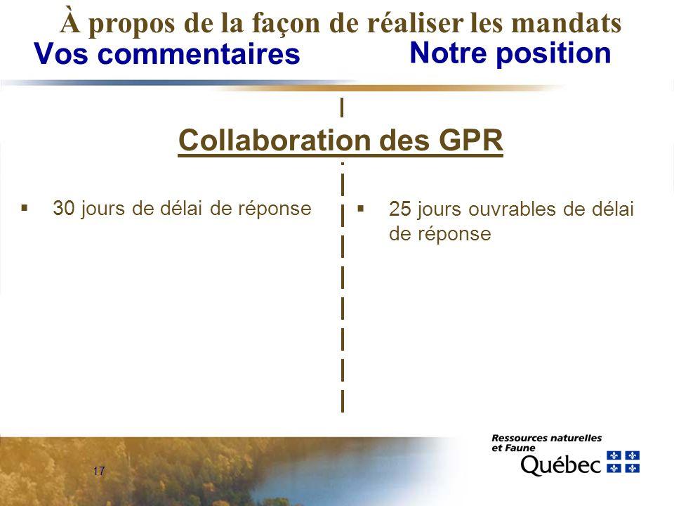 17 Vos commentaires Notre position À propos de la façon de réaliser les mandats Collaboration des GPR 30 jours de délai de réponse 25 jours ouvrables de délai de réponse