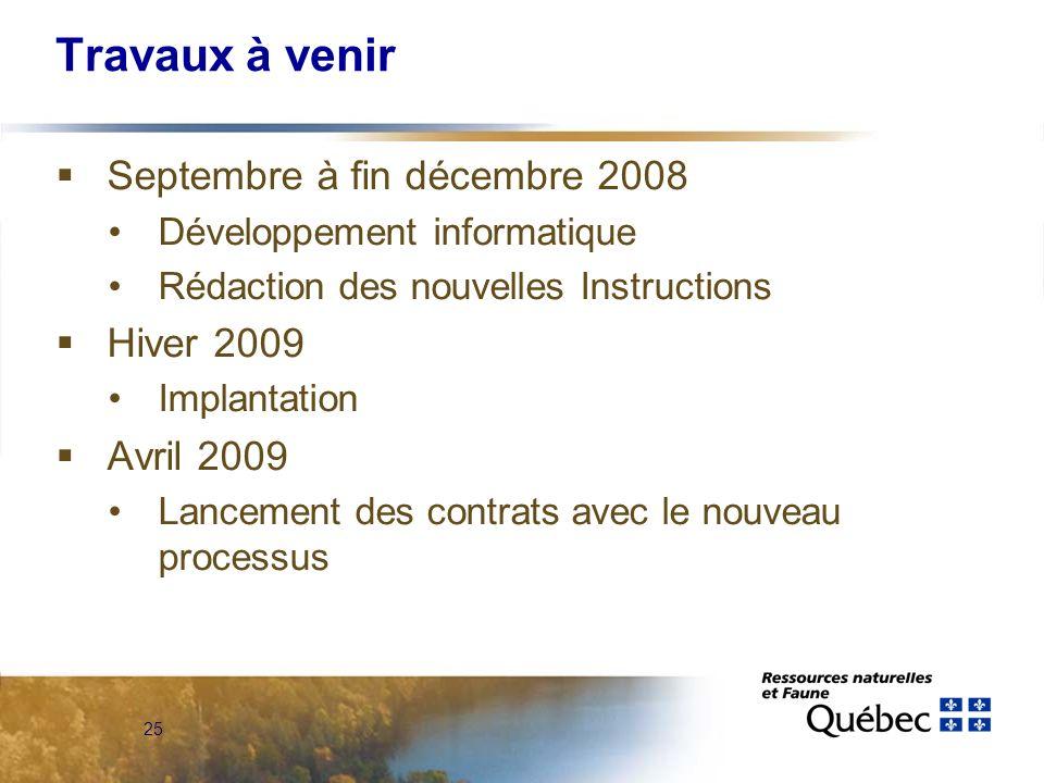 25 Travaux à venir Septembre à fin décembre 2008 Développement informatique Rédaction des nouvelles Instructions Hiver 2009 Implantation Avril 2009 Lancement des contrats avec le nouveau processus
