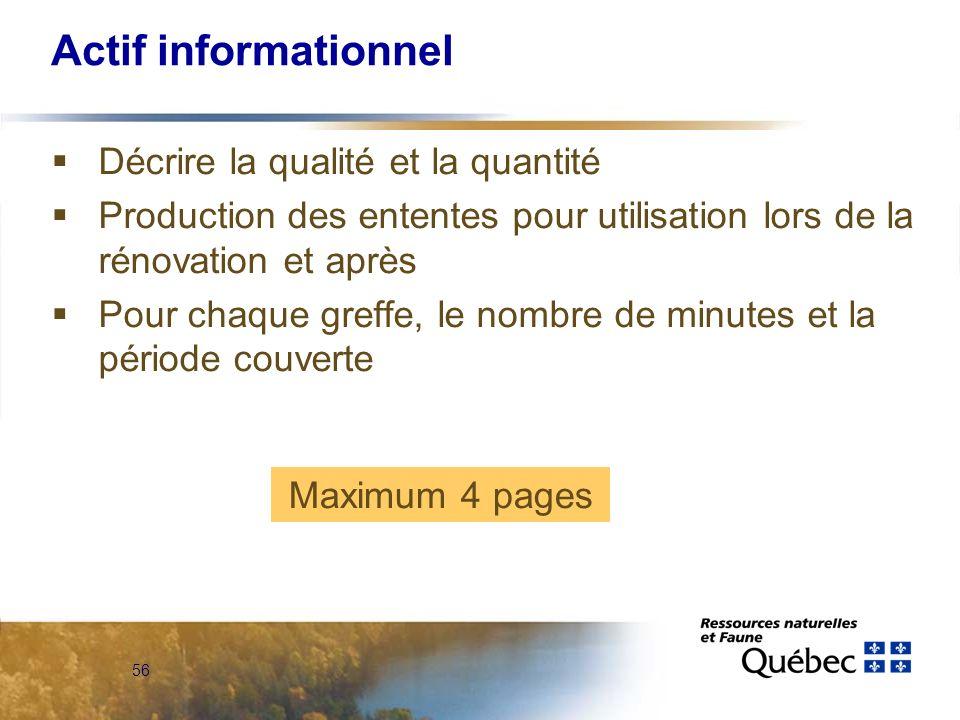 56 Actif informationnel Décrire la qualité et la quantité Production des ententes pour utilisation lors de la rénovation et après Pour chaque greffe, le nombre de minutes et la période couverte Maximum 4 pages
