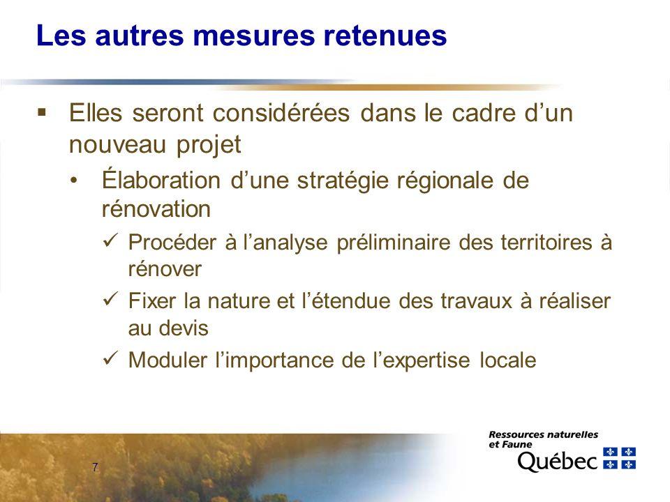 7 Les autres mesures retenues Elles seront considérées dans le cadre dun nouveau projet Élaboration dune stratégie régionale de rénovation Procéder à lanalyse préliminaire des territoires à rénover Fixer la nature et létendue des travaux à réaliser au devis Moduler limportance de lexpertise locale