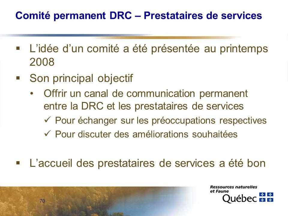 70 Comité permanent DRC – Prestataires de services Lidée dun comité a été présentée au printemps 2008 Son principal objectif Offrir un canal de communication permanent entre la DRC et les prestataires de services Pour échanger sur les préoccupations respectives Pour discuter des améliorations souhaitées Laccueil des prestataires de services a été bon