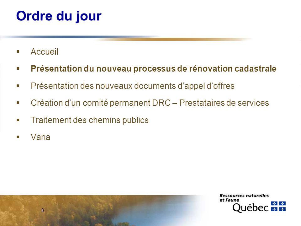 8 Ordre du jour Accueil Présentation du nouveau processus de rénovation cadastrale Présentation des nouveaux documents dappel doffres Création dun comité permanent DRC – Prestataires de services Traitement des chemins publics Varia
