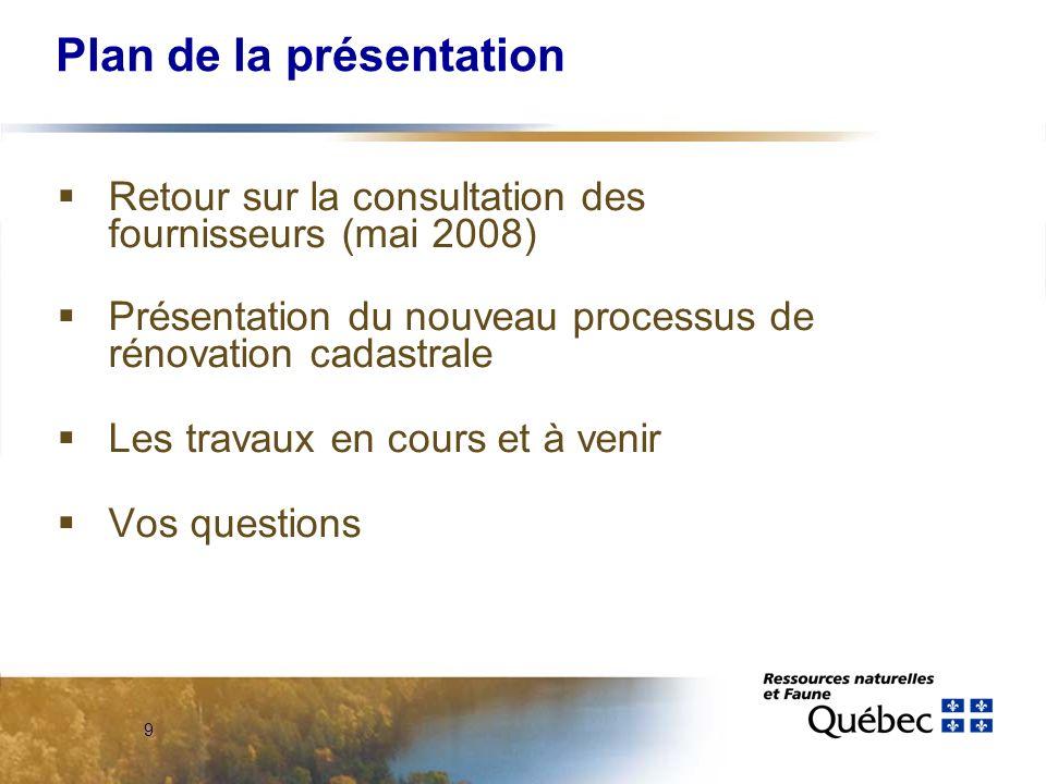 9 Plan de la présentation Retour sur la consultation des fournisseurs (mai 2008) Présentation du nouveau processus de rénovation cadastrale Les travaux en cours et à venir Vos questions