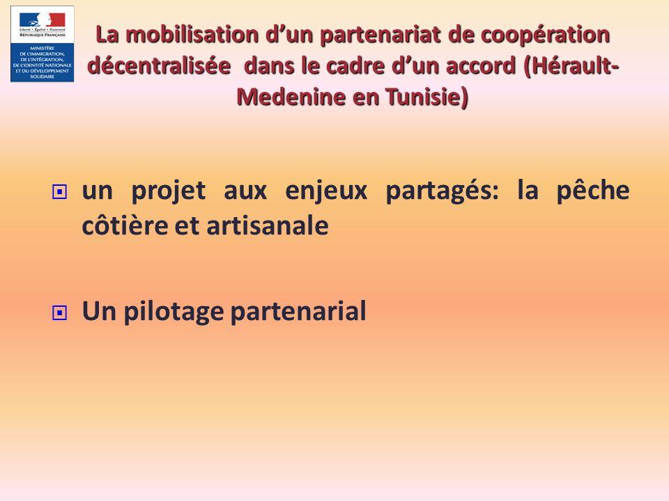 un projet aux enjeux partagés: la pêche côtière et artisanale Un pilotage partenarial La mobilisation dun partenariat de coopération décentralisée dan