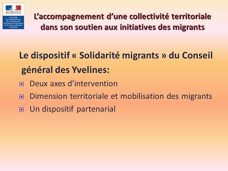 Laccompagnement dune collectivité territoriale dans son soutien aux initiatives des migrants Le dispositif « Solidarité migrants » du Conseil général