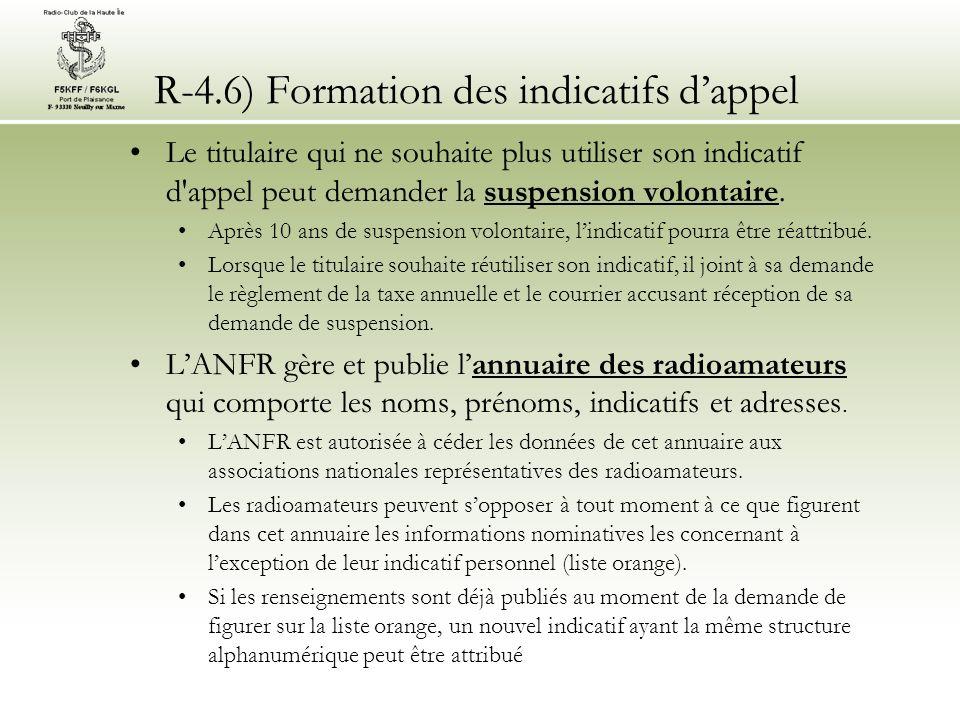 R-4.6) Formation des indicatifs dappel Le titulaire qui ne souhaite plus utiliser son indicatif d appel peut demander la suspension volontaire.