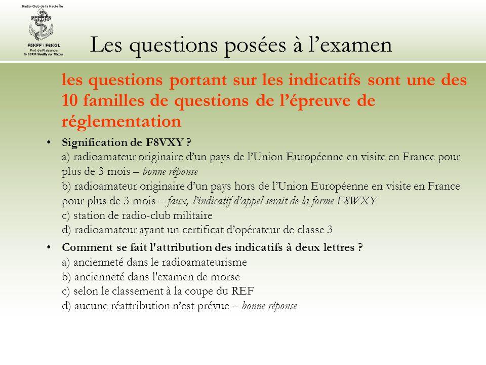 Les questions posées à lexamen les questions portant sur les indicatifs sont une des 10 familles de questions de lépreuve de réglementation Signification de F8VXY .