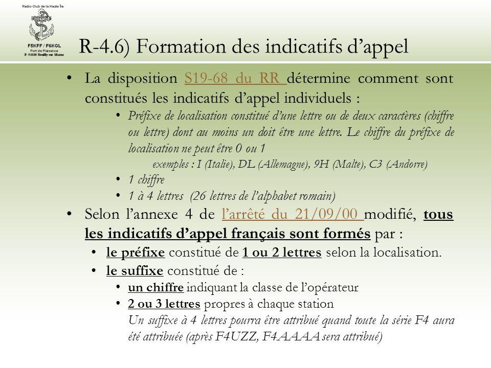 R-4.6) Formation des indicatifs dappel La disposition S19-68 du RR détermine comment sont constitués les indicatifs dappel individuels :S19-68 du RR Préfixe de localisation constitué dune lettre ou de deux caractères (chiffre ou lettre) dont au moins un doit être une lettre.