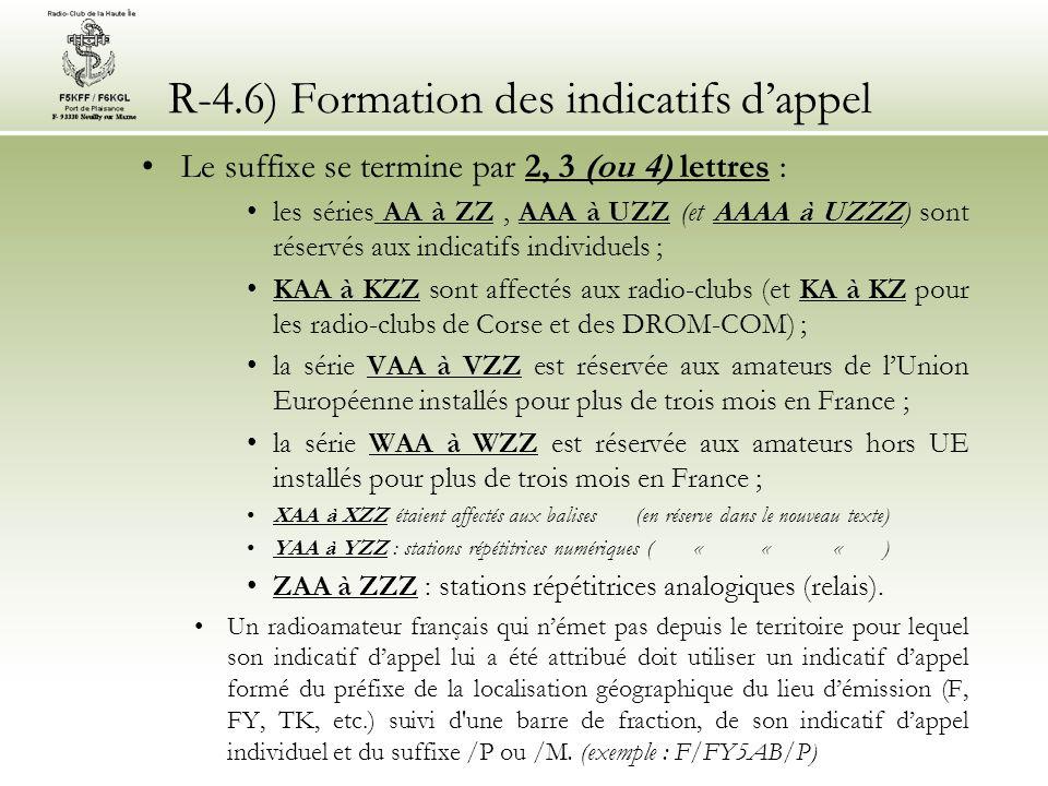 R-4.6) Formation des indicatifs dappel Des indicatifs spéciaux peuvent être attribués pour une période limitée à quinze jours non consécutifs pendant 6 mois (article 7 et annexe 4 de larrêté du 21/09/00).larrêté du 21/09/00 le préfixe de lindicatif sera composé de : TM pour la France continentale TK en Corse TO dans les DROM, à Saint Pierre et Miquelon et à Mayotte TX dans tous les autres COM suivi dun chiffre (0 à 9) et dun suffixe de 1 à 4 caractères (dont le dernier est obligatoirement une lettre) La demande doit être motivée, accompagnée du règlement de la taxe (24 ) et déposée 20 jours ouvrables avant le début de lactivité Les indicatifs spéciaux sont réattribuables Le dossier remis à lANFR indique ladresse (pas de /P ou /M) Modification de mai 2012