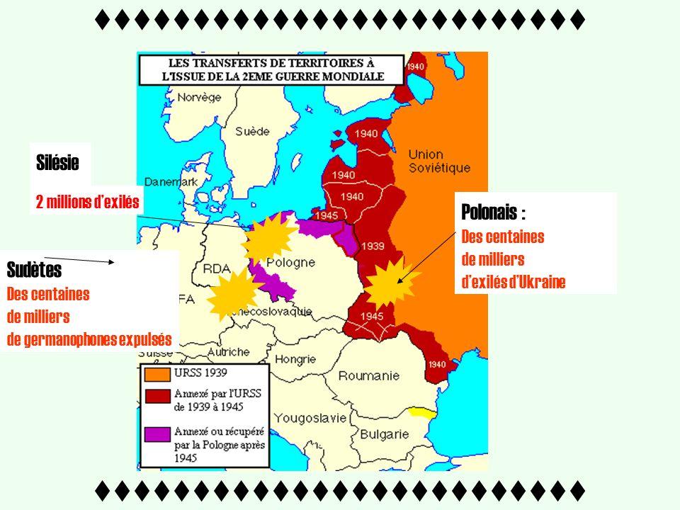 ttttttttttttttttttttttttt Silésie Polonais : Des centaines de milliers dexilés dUkraine 2 millions dexilés Sudètes Des centaines de milliers de germanophones expulsés