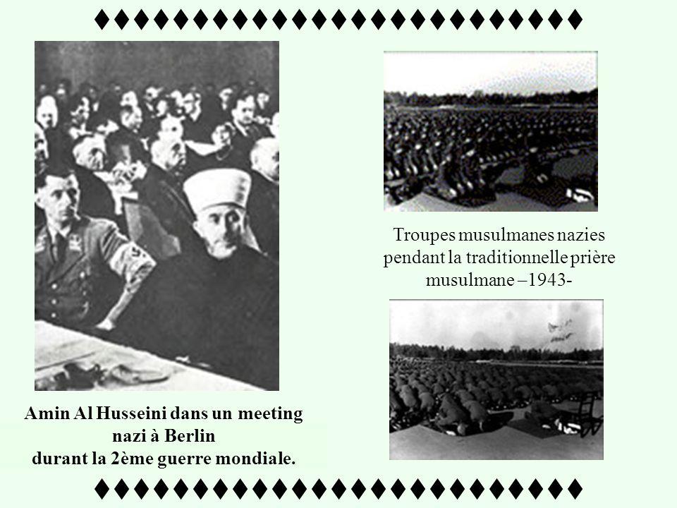 ttttttttttttttttttttttttt Soldat bosniaque affichant une image dAmin Al Husseini - 1943- Amin Al Husseini rencontre Heinrich Himmler maître de la solution finale