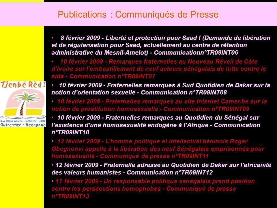 Publications : Communiqués de Presse 8 février 2009 - Liberté et protection pour Saad .