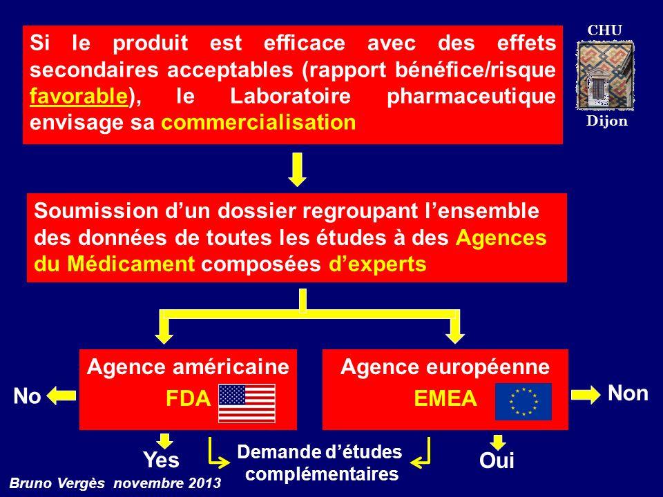 CHU Dijon Bruno Vergès novembre 2013 Si le produit est efficace avec des effets secondaires acceptables (rapport bénéfice/risque favorable), le Labora
