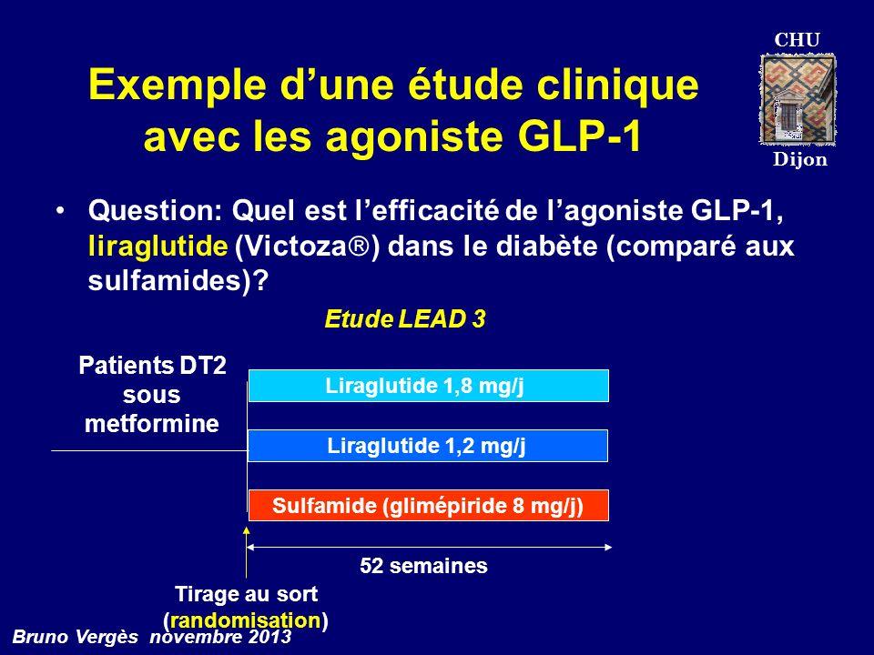 CHU Dijon Bruno Vergès novembre 2013 Exemple dune étude clinique avec les agoniste GLP-1 Question: Quel est lefficacité de lagoniste GLP-1, liraglutid