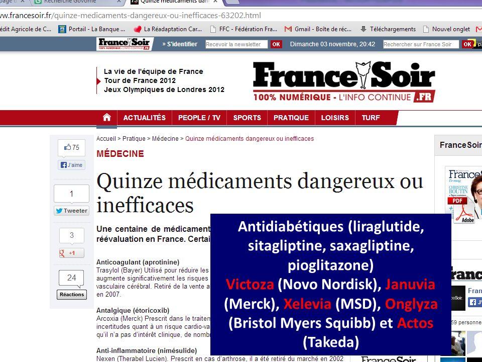 CHU Dijon Bruno Vergès novembre 2013 Antidiabétiques (liraglutide, sitagliptine, saxagliptine, pioglitazone) Victoza (Novo Nordisk), Januvia (Merck),
