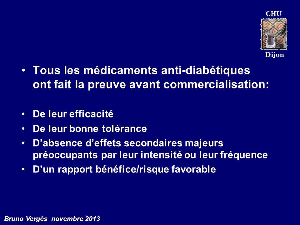 CHU Dijon Bruno Vergès novembre 2013 Tous les médicaments anti-diabétiques ont fait la preuve avant commercialisation: De leur efficacité De leur bonn