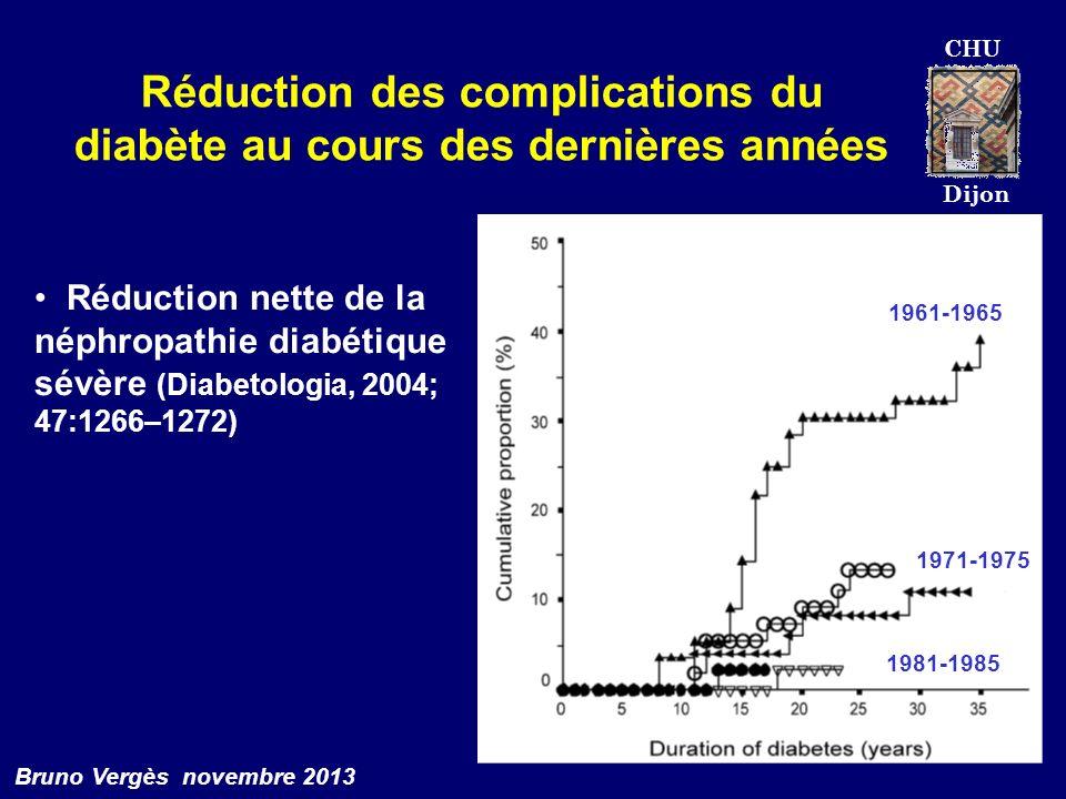 CHU Dijon Bruno Vergès novembre 2013 Réduction des complications du diabète au cours des dernières années 1961-1965 1971-1975 1981-1985 Réduction nett