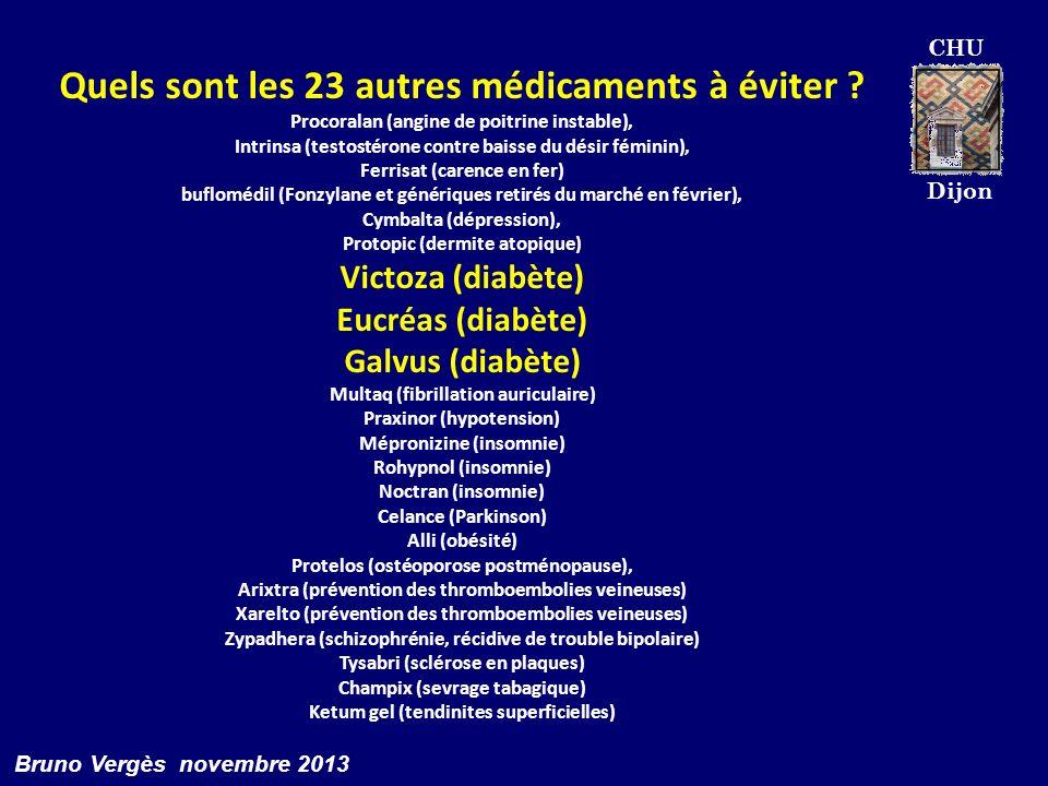 CHU Dijon Bruno Vergès novembre 2013 Quels sont les 23 autres médicaments à éviter ? Procoralan (angine de poitrine instable), Intrinsa (testostérone