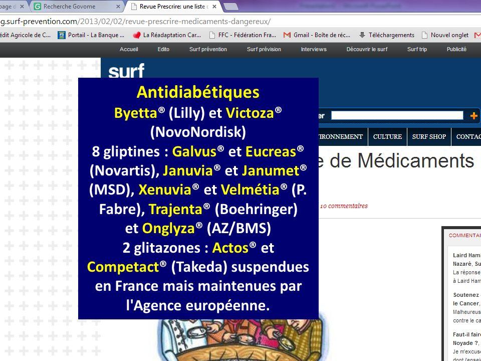 CHU Dijon Bruno Vergès novembre 2013 Antidiabétiques Byetta® (Lilly) et Victoza® (NovoNordisk) 8 gliptines : Galvus® et Eucreas® (Novartis), Januvia®