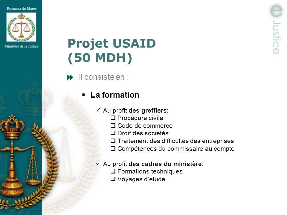 Projet USAID (50 MDH) Il consiste en : La formation Au profit des greffiers: Procédure civile Code de commerce Droit des sociétés Traitement des diffi