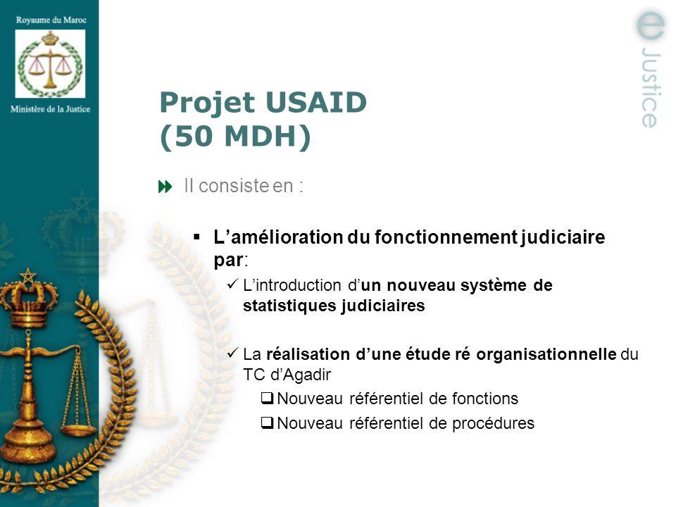 Projet USAID (50 MDH) Il consiste en : Lamélioration du fonctionnement judiciaire par: Lintroduction dun nouveau système de statistiques judiciaires L