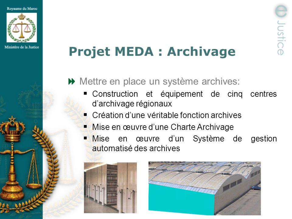 Projet MEDA : Archivage Mettre en place un système archives: Construction et équipement de cinq centres darchivage régionaux Création dune véritable f