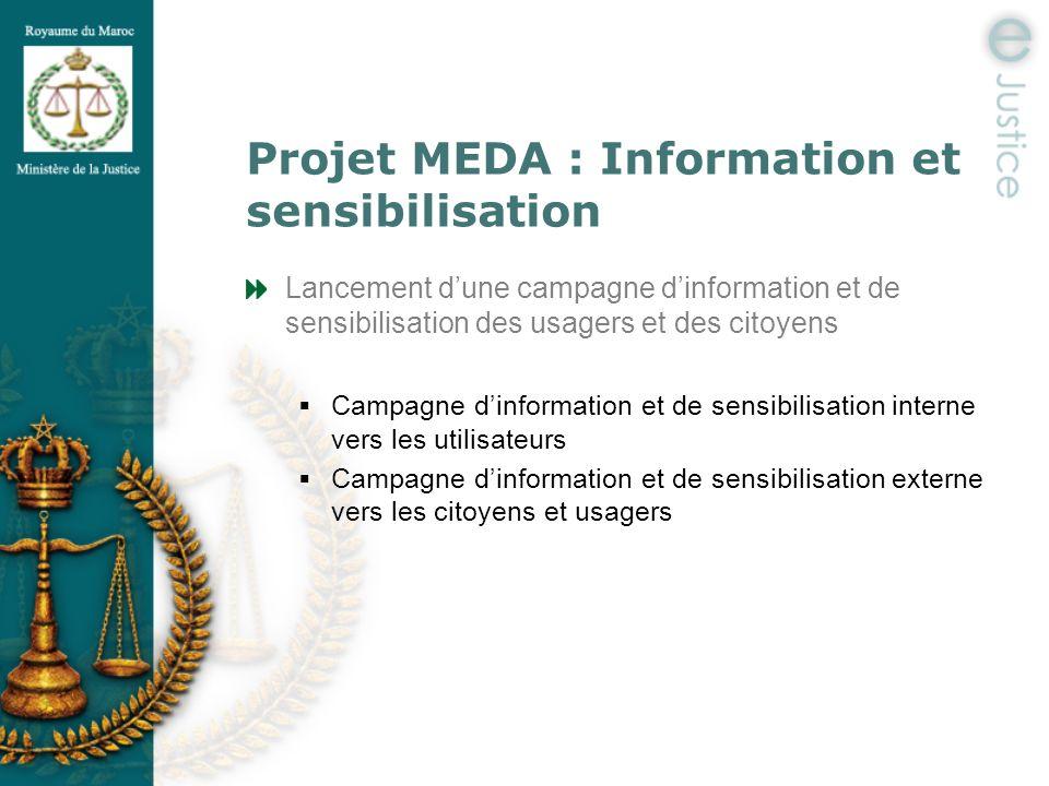 Projet MEDA : Information et sensibilisation Lancement dune campagne dinformation et de sensibilisation des usagers et des citoyens Campagne dinformat