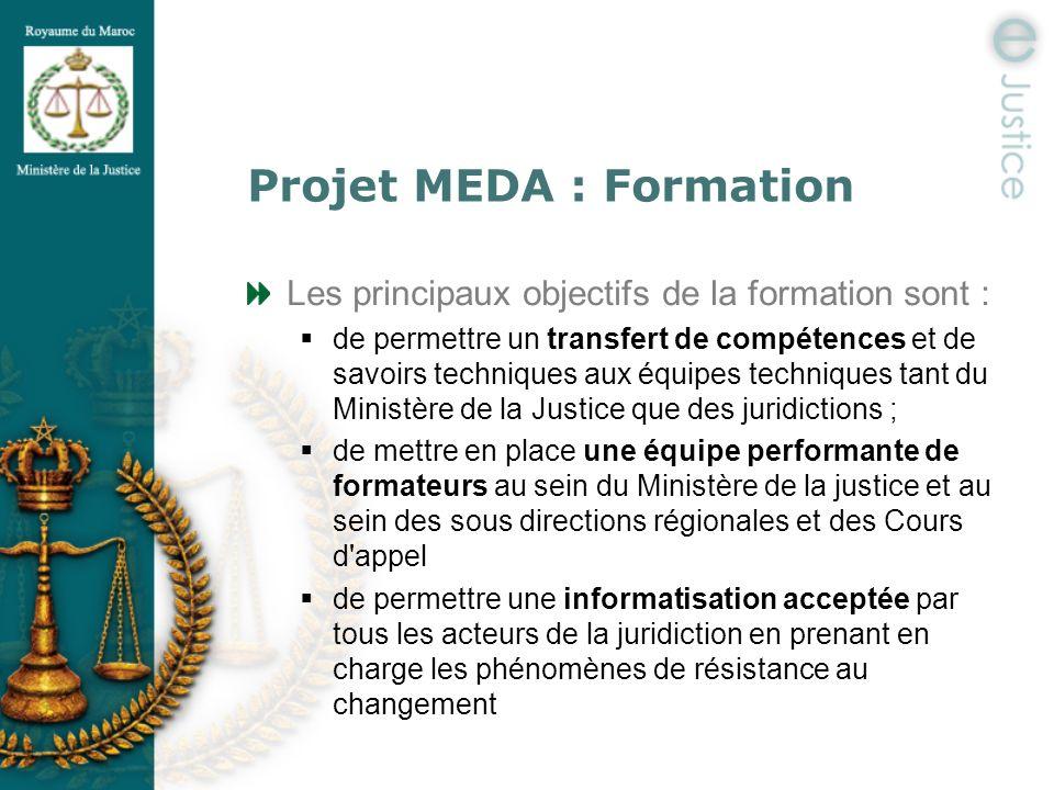 Projet MEDA : Formation Les principaux objectifs de la formation sont : de permettre un transfert de compétences et de savoirs techniques aux équipes