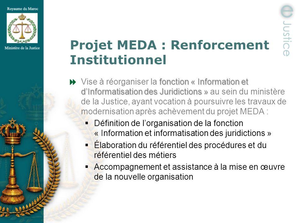 Projet MEDA : Renforcement Institutionnel fonction « Information et dInformatisation des Juridictions » Vise à réorganiser la fonction « Information e