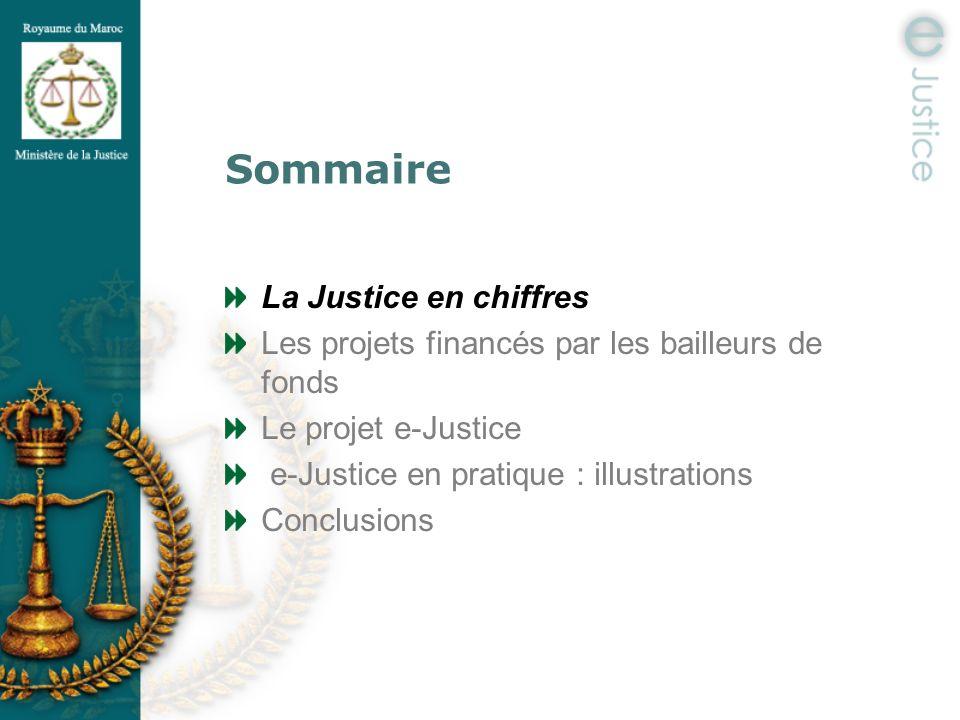 Sommaire La Justice en chiffres Les projets financés par les bailleurs de fonds Le projet e-Justice e-Justice en pratique : illustrations Conclusions