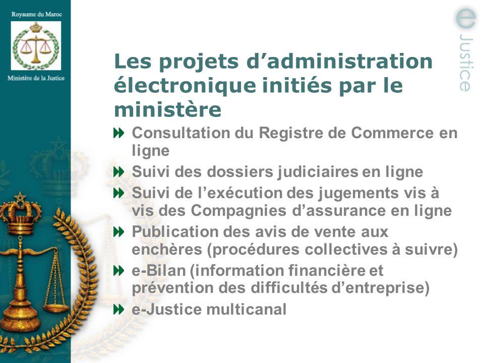 Les projets dadministration électronique initiés par le ministère Consultation du Registre de Commerce en ligne Suivi des dossiers judiciaires en lign