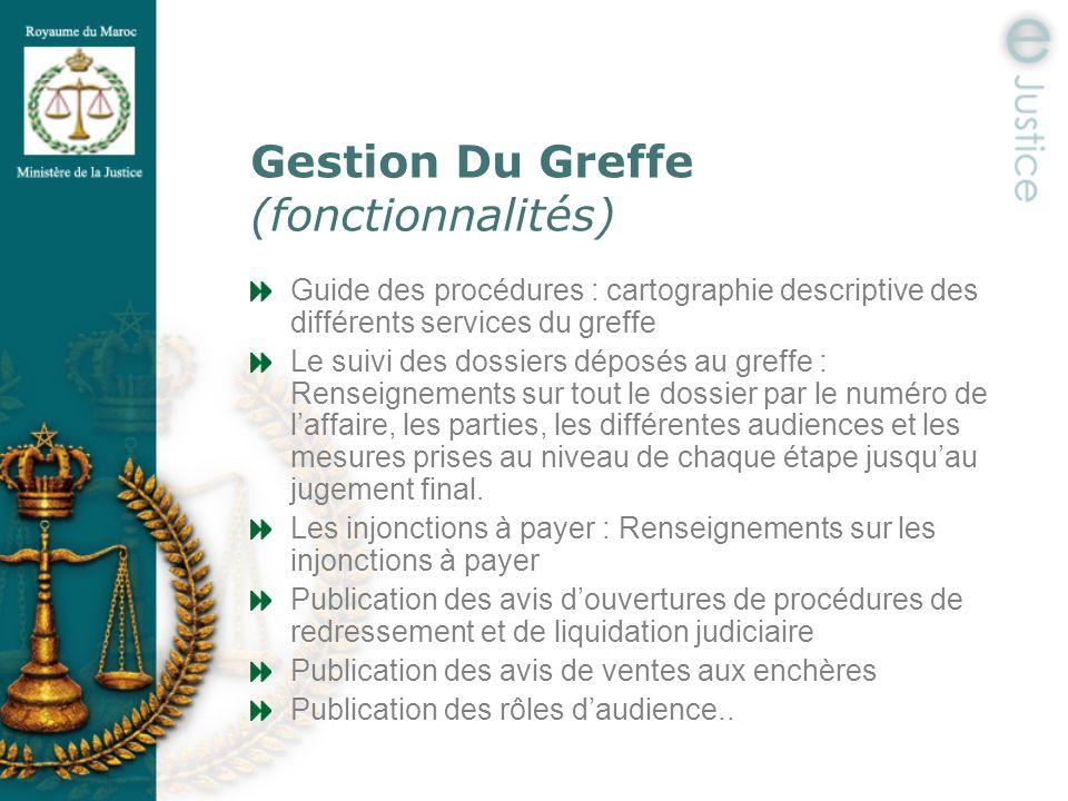 Gestion Du Greffe (fonctionnalités) Guide des procédures : cartographie descriptive des différents services du greffe Le suivi des dossiers déposés au
