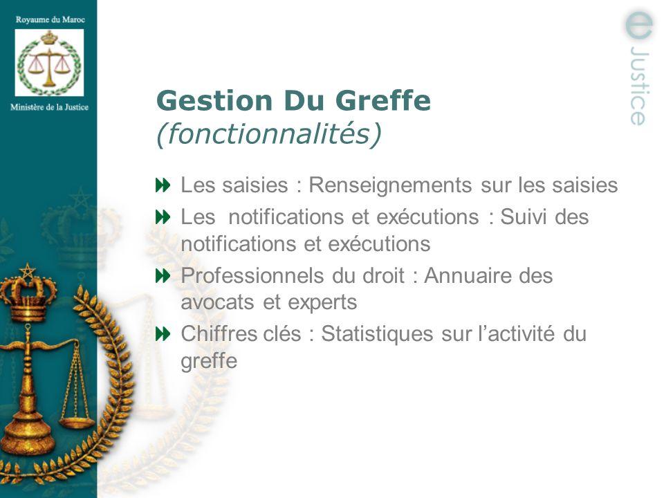 Gestion Du Greffe (fonctionnalités) Les saisies : Renseignements sur les saisies Les notifications et exécutions : Suivi des notifications et exécutio